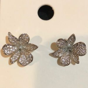 Silver Pavé Flower Stud Earrings from Express, NWT